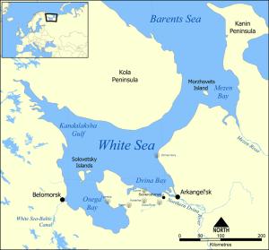 Karte Weißmeer, Arkhangelsk Region zeigt den Solza River. Lokalitäten im Vendium / Ediacarium.