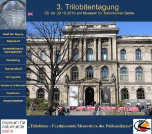3. Trilobitentagung an 08.bis 09.10.2016 im Museum für Naturkunde in Berlin